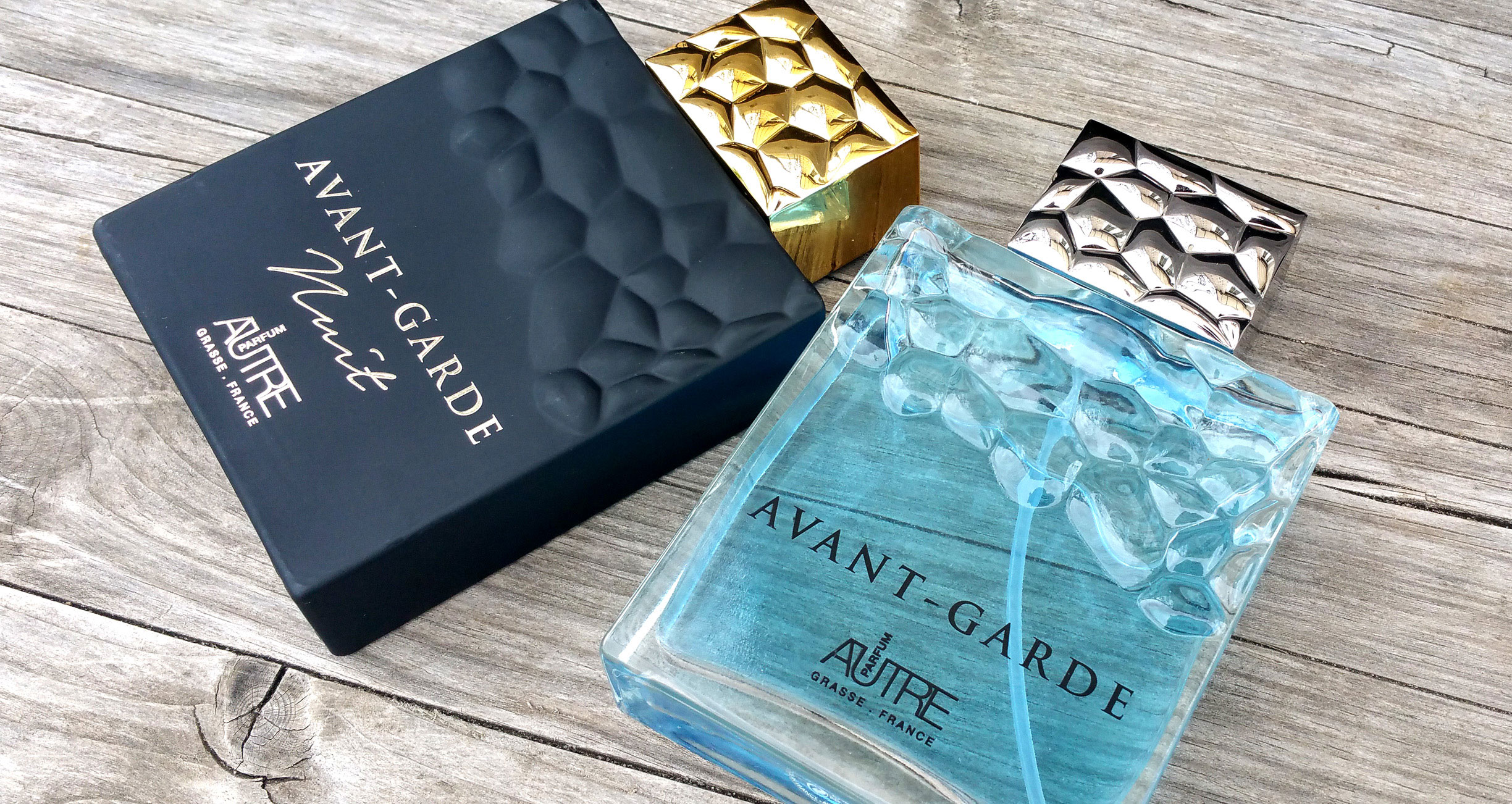 Bottle concept, packaging and photo-series for Avant-Garde and Avant-Garde Nuit fragrances. By Color.zone creative agency.