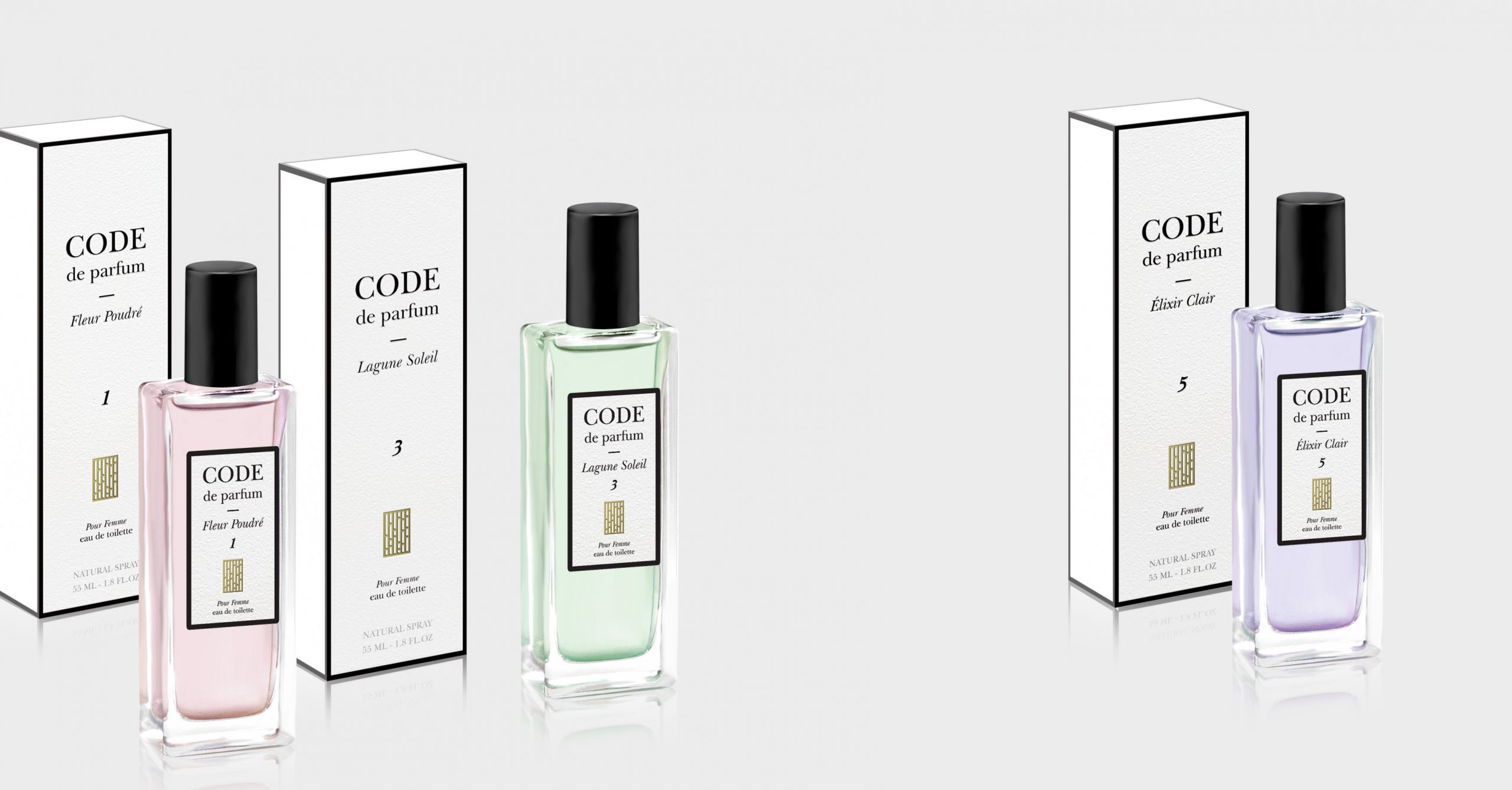 Code de parfum – fragrances series packaging design. By Color.zone creative agency.